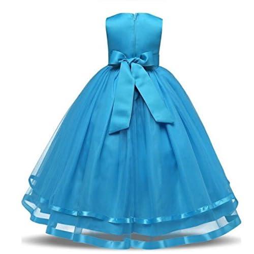 3c25b67976d17 Filles Rose Fleur Bow Tie Princesse Robe De Soirée Tulle De Mariage  Demoiselle D honneur