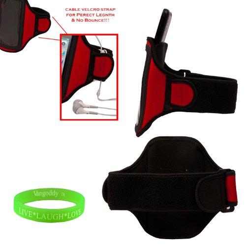 VG Inc FIRE RED Neoprene Exercise Armband w/Special Key Pocket for Nokia Lumia Icon, 1020, 920, 900, 822, 820, 810, 808, 800, 710 (Armband Nokia Lumia 920)