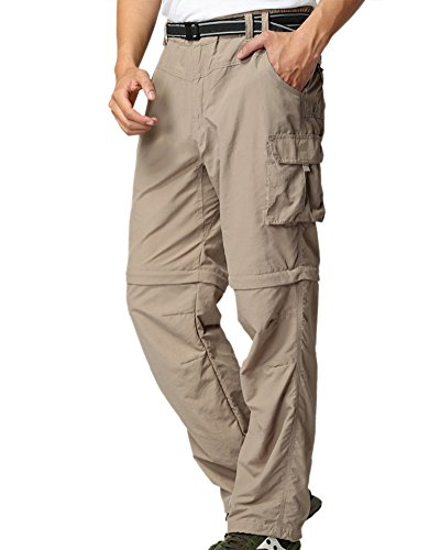 - Men's Outdoor Anytime Quick Dry Convertible Lightweight Hiking Fishing Zip Off Cargo Work Pant M885 Khaki,36