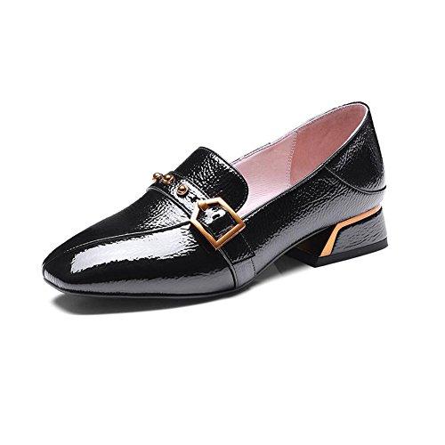 Pied Pointu Tribunal De Cjc Dames Femme Talon Doigt Chaussures Noir Chunky 64OqFwx