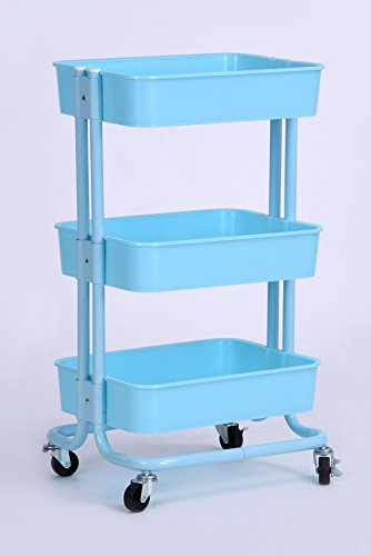 3-Tier Metal Utility Service Rolling Handle Storage Kitchen Office Kid Room Cart with wheels in Blue