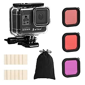 Artman Housing Case Filter Kit for GoPro Hero 8 Black, Waterproof Case Diving Protective Housing Case Under 197FT(60M)+ 3-Pack Filter + 12 Anti-Fog Inserts + Bracket Accessories