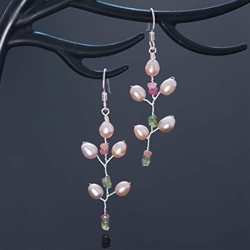 Watermelon Tourmaline Sterling Silver Pearl Long Twig Earrings Handmade Bohemian ()