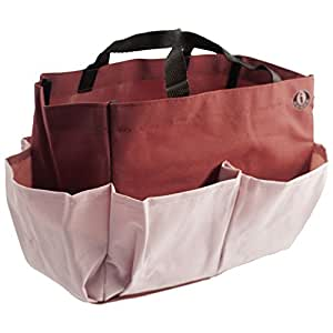 i Craft Small Tote Bag - Artist Organizer for Art, Knitting & Crochet w/ 7 side pockets - Ruby Red & Pink Rose