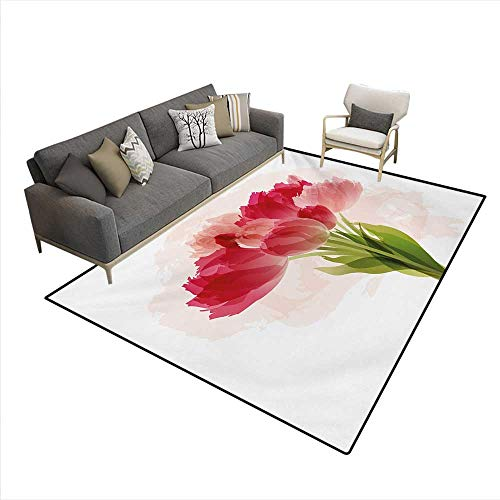 Carpet,Watercolor Painting Bouquet Tulip Flower Artistic Botanical Romantic Print,Indoor Outdoor Rug,Pink Coral Green,6'6