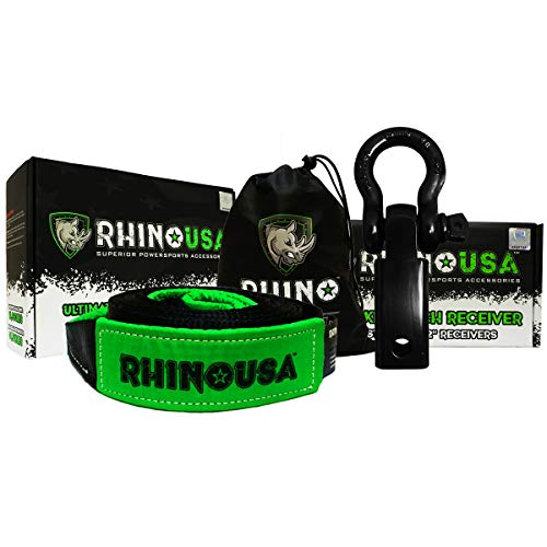 RHINO USA COMBO Recovery Tow Strap (20ft) & Shackle Hitch Receiver - Lab Tested 31,518lb Break Strength - Heavy Duty Draw String bag Included - Triple Reinforced Loop End to (Receiver Hitch Shackle)