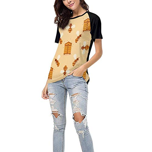 (Laki-co Women's Summer Short Sleeve - Bee House Casual Raglan Tee Baseball Tshirts Tops Blouse M)