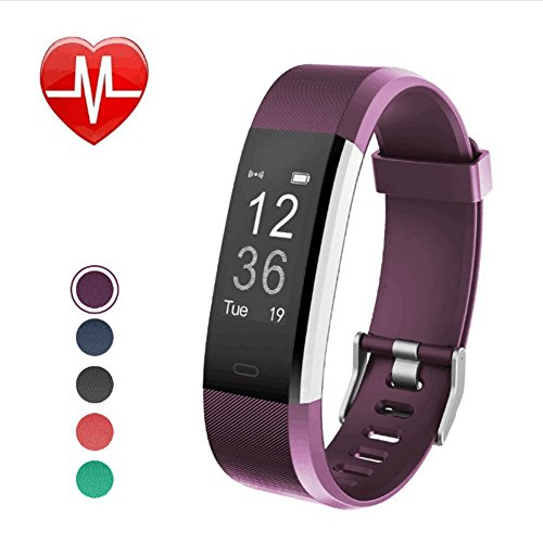 Jeestam Fitness Tracker with Heart Rate Monitor Sleep Monitor, IP67 Waterproof Activity Tracker with GPS Calorie Counter, Smart Watch Bracelet Pedometer Wristband for Android and iOS Phone (Purple)
