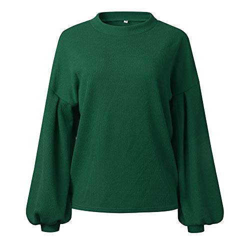 Sleeve Round Sweater Knitted Fashion DOLDOA Tops Long Blouse Lantern Neck Loosen Green Womens Warm Solid 7X78wxqAI
