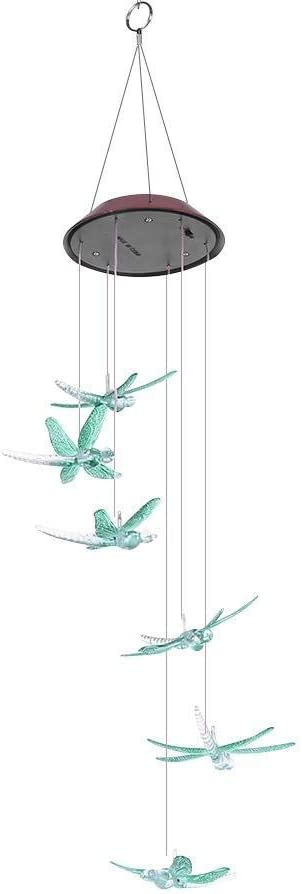 ecoeco Wind Chime Solar Lights Dragonfly Wind Chimes Outdoor Led Wind Chime Solar Changing Colors Waterproof Mobile Solar Powered Chime-Light for Home Decor, Yard, Garden, Patio