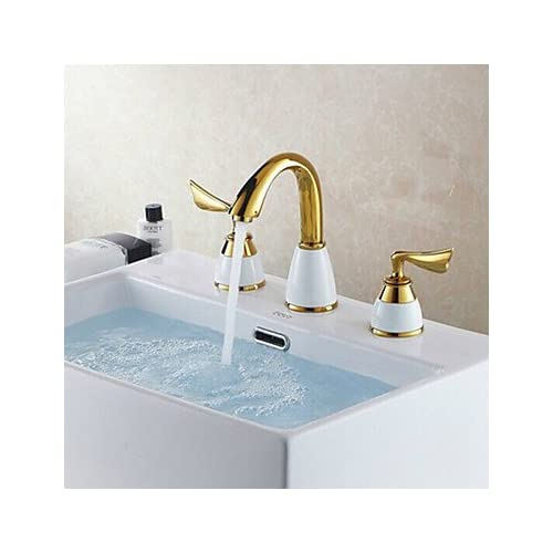 chic W&P Antique brass PVD surface treatment of titanium three-hole double handle bathroom sink faucets