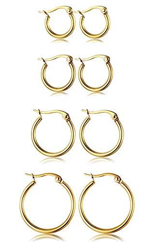 - FIBO STEEL Stainless Steel 4 Pairs Small Hoop Earrings for Men Women Earrings 12-22MM G