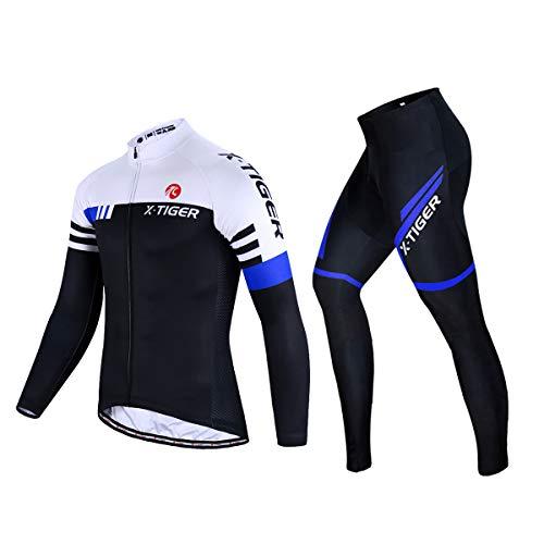 X-TIGER Men's Cycling Jersey Set Long Sleeve Biking Jersey with 5D Gel Padded Pants MTB Road Bike Cycling Clothing Set (Thick-Blue, XL=(US) L)