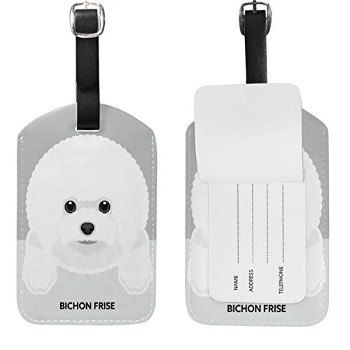 Wamika Dog Suitcase Luggage Tags Leather Travel Bag Tag Cute Baggage Labels 1PC (Frise Leather Luggage Tag Bichon)
