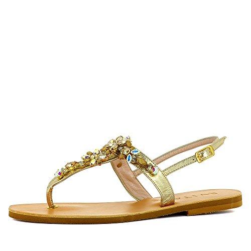 Mujer Vestir Evita Shoes Dorado Piel De Greta Sandalias Para wrI0nqO1Ix