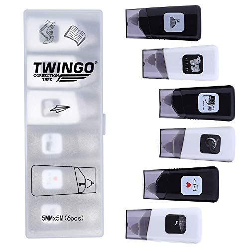 TWINGO White Out Correction Tape Mini Correct Roller Cute Tape Pack of 6(U+5456)