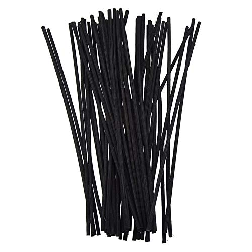 Yummi697 50Pcs Rattan Replacement Sticks Black Reed 20Cm 3Mm Reed Oil Diffuser Refill Handmade Modern Home Table Decor Supplies by Yummi697