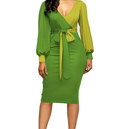 Womens Dresses,YKA Girl Long Sleeve Evening Party Beach Business Dress Skirt For Ladies (Green, (V-neck Muumuu)
