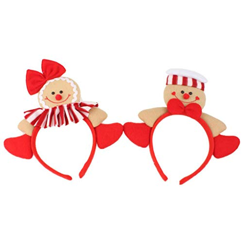 Zerowin Christmas Gingerbread Man Style Hair Hoop Xmas Hair Accessory Headwear Cute Cartoon Headband Christmas Holiday Party Supplies Gifts (Style 1&2)