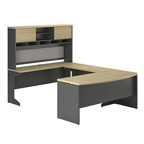 Ameriwood Home Pursuit U-Shaped Desk with Hutch Bundle, Natural