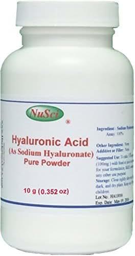 NuSci Pure Hyaluronic Acid HA Sodium Hyaluronate Powder (10 grams (0.352 oz))