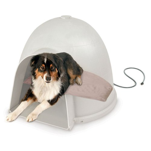 K&H Pet Products Lectro-Soft Igloo Style Outdoor Heated Bed Medium Tan 14.5