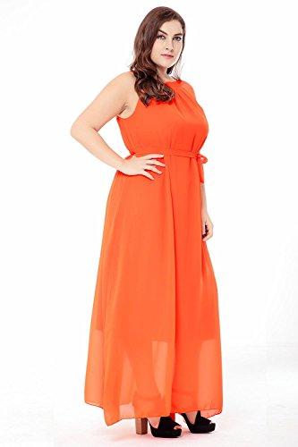 Verano mujeres Bohemia playa de vacaciones de gran tamaño de gasa más fertilizante vestido , xxl , orange
