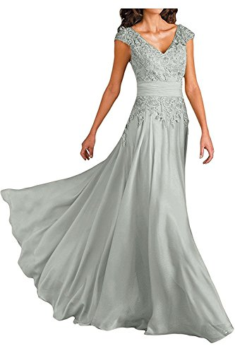 Silver Lace Applique V-Neck Mother Of The Bride Dresses Chiffon Formal Party Gowns Long Size 16