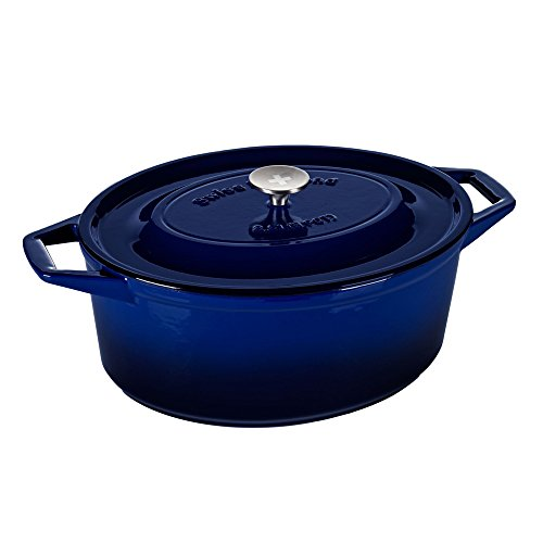 Swiss Diamond Enameled Cast Iron Oval Casserole, 13.5 inch, Saphir Bleu