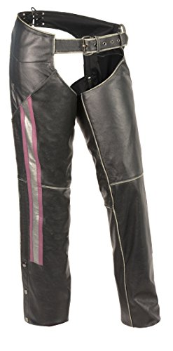 Milwaukee Leather Leather Womens Chaps Women's Rub-Off Low Rise Chap W/ Purple & Silver Accent Large Style # (Slv Pocket)