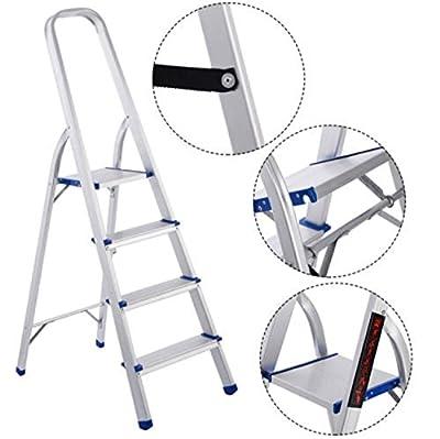 Ladder 4 Step Extension Aluminum Foldable Rack Non-Slip 300 Lbs Lightweight.