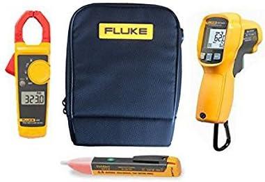 FLUKE Combo Set (323, 62MAX Plus, 1, C115)–Viene con AC FLUKE 323400A AC–600V AC/DC–Medidor de Corriente Digital con Pinza, 62MAX +/polvo resistente al agua, rígida, LCD Detector de infrarr