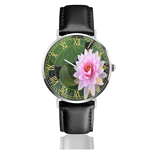 - Watch Most Beautiful Pink Lotus Flower Creative Wrist Watches Quartz Stainless Steel and PU Leather Personalized Custom for Unisex