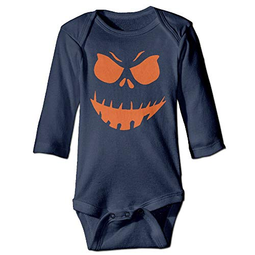 Q98BABY Infant Baby's Long Sleeve Baby Clothes Scary Face Halloween Print Jumpsuit Onesie Navy]()