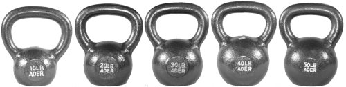 Ader Premier Kettlebell Set w/ Dvd- (10, 20, 30, 40, 50lb) (40 Lb Kettle Ball compare prices)
