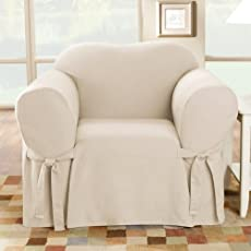 Sure Fit Cotton Duck   Chair Slipcover   Natural (SF26806)