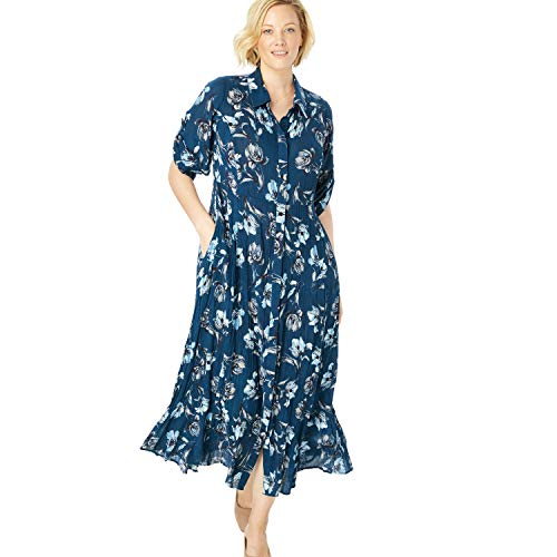 Woman Within Women's Plus Size Crinkle Shirtdress - Dark Cobalt Watercolor Floral, 14 W