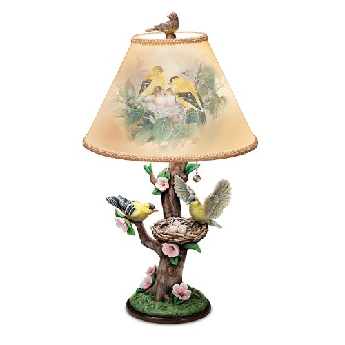 Lena Liu Lamp: Nature's Poetry Lamp with Goldfinch Art by The Bradford Exchange (Nest Lamp Bird Table)