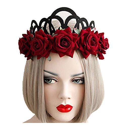 Gothic Style Queen Jewelry Red Rose Crown Tiara Headband Halloween Masquera B2U5