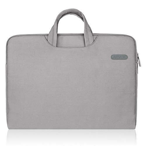 ARVOK 13-13.3 Inch Canvas Laptop Sleeve With Handle & Zipper Pocket Water-resistant Notebook Computer Case/Ultrabook Briefcase Carrying Bag, Gray