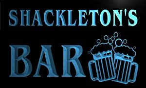 w027717-b SHACKLETON Name Home Bar Pub Beer Mugs Cheers Neon Light Sign