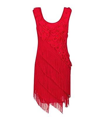 Solatin Women's 1920s Beaded Fringe Scalloped Petal Plus Size Flapper Dress