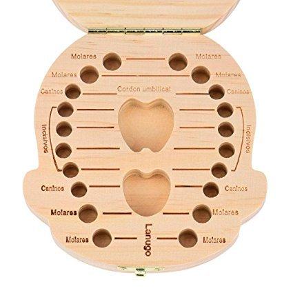 Kanggest 1Pcs Caja de Almacenaje de Dientes de Leche de Beb/é de Madera Espa/ñola para el Ni/ño Guardar Dientes Lanugo