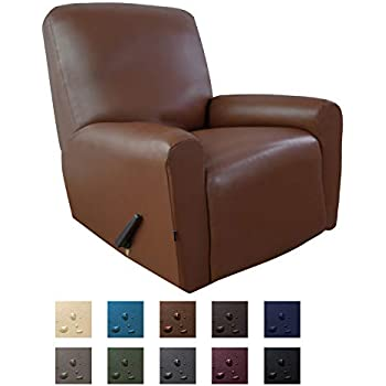 Easy-Going PU Leather Recliner slipcovers, Waterproof Stretch Recliner Covers, 4 Pieces Stretch Furniture Protector, Anti-Slip Elastic Strap Shield(Recliner, Coffee)