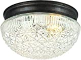 Hardware House 54-4734 Two Light Flush Mount, Classic Bronze Finish with Clear Cut Glass