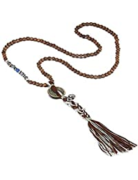 Vintage Chinese Coin Pendent Bronze Necklace for Wealth and Success Long Wood Beads Chain Tassel Jewerly