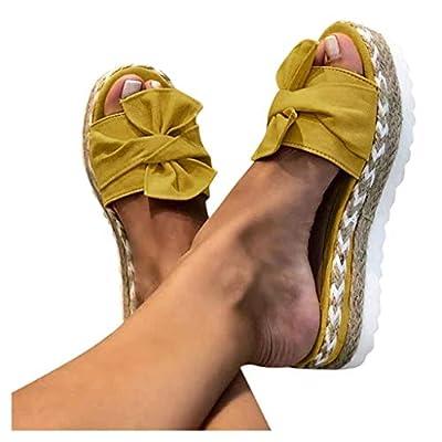 Womens Platform Sandals, Ulanda Women's Summer Sandals Slip-On Bow Flat Open Toe Breathable Sandals Weave Shoes: Clothing