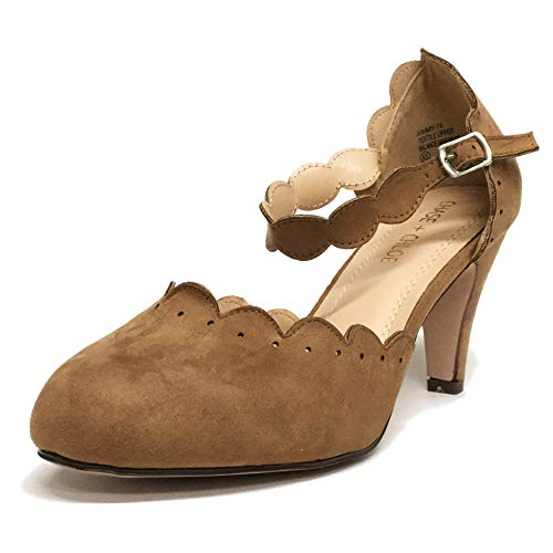 Chase & Chloe Kimmy-74 Women's Vintage Mary Jane High Heel Pump (7.5 M US, Taupe Suede)
