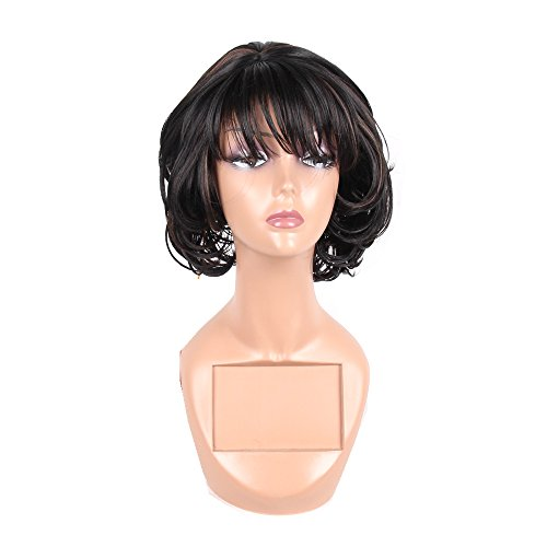 Search : Jiayi Short Bob Hair Wig with Bangs Synthetic Wave Wigs for Women Japanese Heat Resistant Fiber Hair Like Natural Hair Wig with Free Wig Cap for Daily Wear (1B/30)