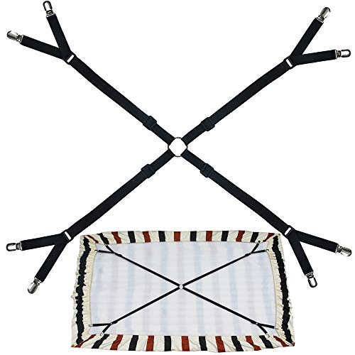 Small Crisscross Twin Size Bed Full Size Bed Fitted Sheet Straps Suspenders Gripper/Holder/Fastener -Keep Your Bed Sheet in Place! Small Style for Your Twin Size Bed/Full Size Bed - Black - One Set